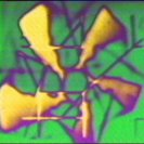 Frame from Video MetaProgramming One. Colourised computer graphic and feedback. (1974)