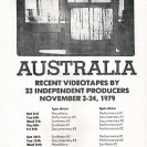Announcement for Videotapes from Australia at The Kitchen, New York, 1979