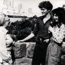 Kimible Rendall and Carole Sklan chating with Lottie during an interview. From the Videotapes from Australia catalogue (photographer unknown).