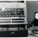Close up of the video synth, video mixer and support equipment used for the SPK recordings.