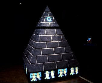 Installation shot of The Fujiyama Pyramid Project, Long Beach Museum of Art.