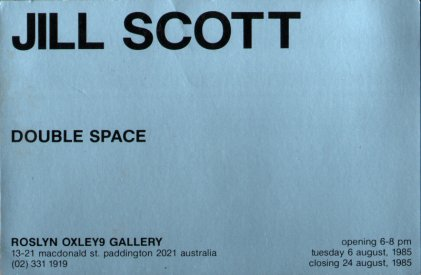 Invitation card to the Roslyn Oxley9 gallery presentation of Double Space, 1985.