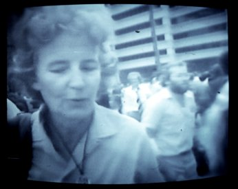 A member of the public expressing her views at the 1st anniversary rally. From The Greatest Advertising Campaign ... [from the video]