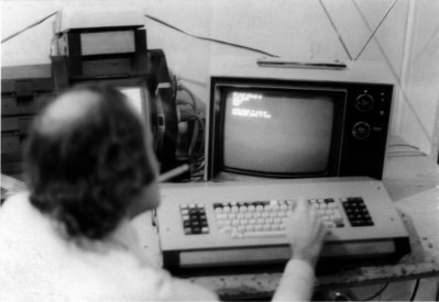 Ariel at the Shadow computer system that he designed based on a Z80 microprocessor and Matrox RGB (256 x 256) video cards