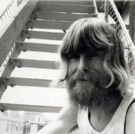 Mick Glasheen on the steps outside the Bush Video floor of the Fuetron Building, c.1973. [Photograph: Jodie Adams]