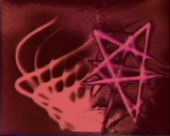 Frame from I Know Nothing, colourised lissajous figures and computer graphic. Bush Vidoe 1974.