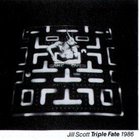 Catalogue image from Jill Scott's Triple Fate (1986), one of the installations at the Art Gallery of NSW.