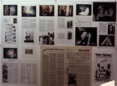 Installation shot of the documentation at The Kitchen, New York, 1979.