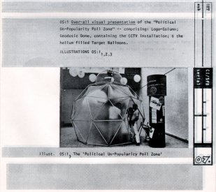 Image from Nicholson's documentatin and appraisal of his 'Poli-Poll-Pool-Shots' instalaltion for the 1976 Biennale of Sydney.