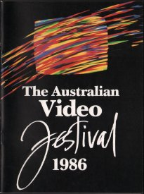 Cover of the catalogue of the Australian Video Festival 1986. The colour image was produced on the Quantel Paintbox at the Video Paintbrush Company, Sydney.
