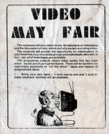 Front page of the First Video May Fair program.