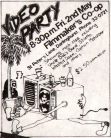 Video Party insert on reverse of 4th Video Mayfair (1980) programme. (artist unknown).