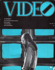 Cover of City Video, vol.1, no.3, with Stephen Jones in front of monitors at Open Processes [photo: Sandy Edwards]