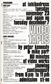 The programme for the Inhibodress Video Nights showings. (1971)