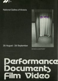 Cover of the Performance, Documents, Film, Video catalogue (1975).
