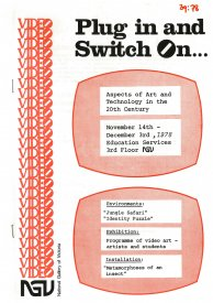 Cover of the catalogue for Plug in and Switch on at the NGV, 1978.