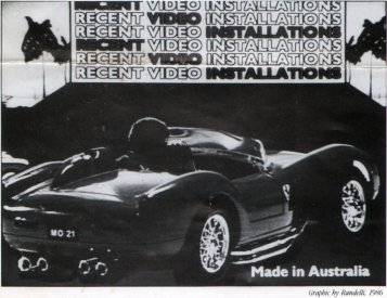 Randelli graphic from the catalogue sheet for Recent Australian Video Installation at ACCA, Melbourne, 1986.